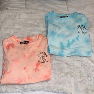 two super cute zoo York tie-dye graphic tees SMALL